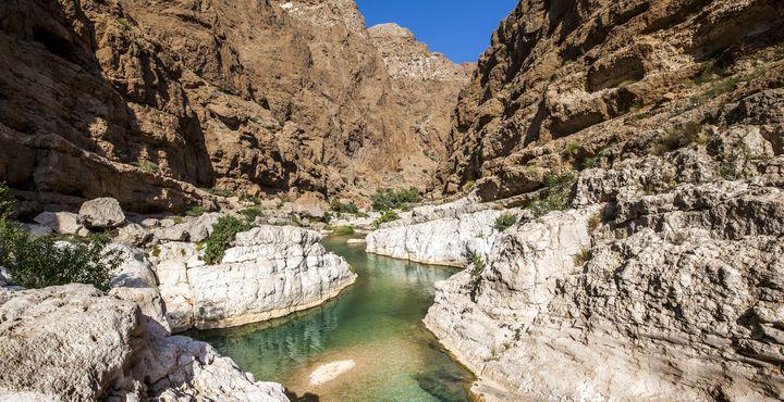 Bevor Sie nach Sur fahren, besuchen Sie den von Palmen gesäumten Wadi Shab.