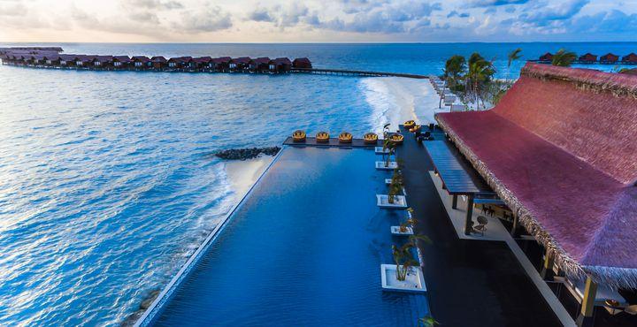 Der Infinity Pool lockt mit gemütlichen Sonnenliegen und einem kreativen Cocktail aus der Poolbar des Breeze.