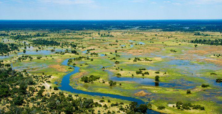 Fliegen Sie über das Okavango Delta - ein Erlebnis, das wunderschöne Eindrücke hinterlässt.