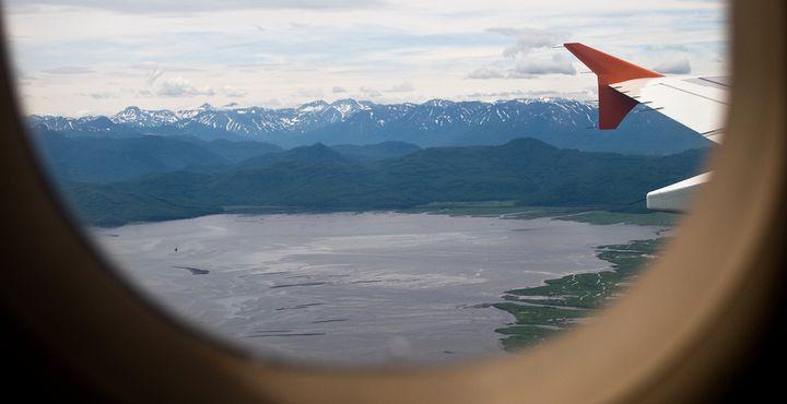 Beim Anflug auf die Haupstadt Kamtschatkas sehen Sie bereits die Awatscha-Bucht von oben.