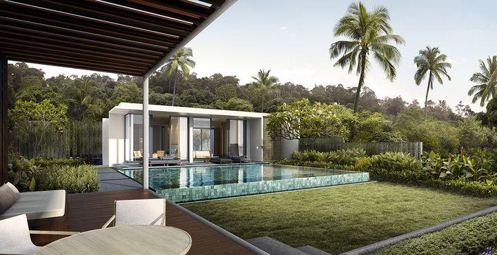 Die Villen verfügen über einen privaten Pool, der zum Entspannen einlädt.